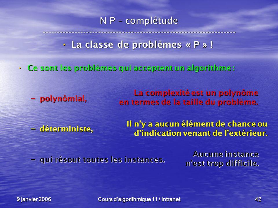 9 janvier 2006Cours d'algorithmique 11 / Intranet42 N P – complétude ----------------------------------------------------------------- La classe de pr
