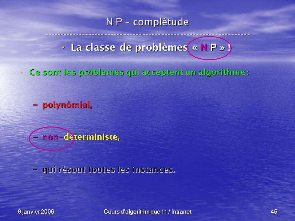 9 janvier 2006Cours d'algorithmique 11 / Intranet45 N P – complétude ----------------------------------------------------------------- La classe de pr