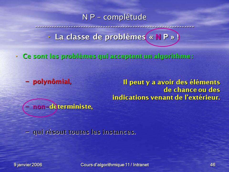 9 janvier 2006Cours d'algorithmique 11 / Intranet46 N P – complétude ----------------------------------------------------------------- La classe de pr