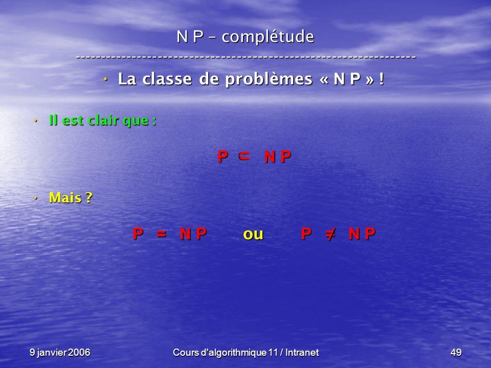9 janvier 2006Cours d'algorithmique 11 / Intranet49 N P – complétude ----------------------------------------------------------------- La classe de pr
