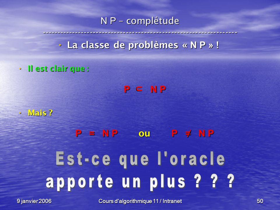 9 janvier 2006Cours d'algorithmique 11 / Intranet50 N P – complétude ----------------------------------------------------------------- La classe de pr