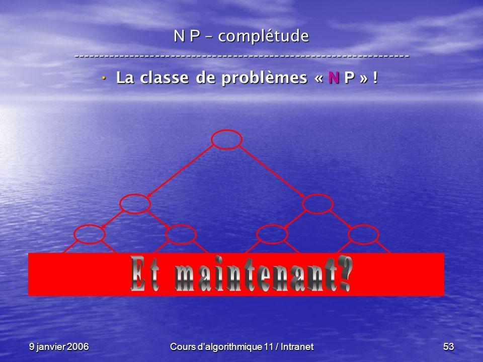 9 janvier 2006Cours d'algorithmique 11 / Intranet53 N P – complétude ----------------------------------------------------------------- La classe de pr