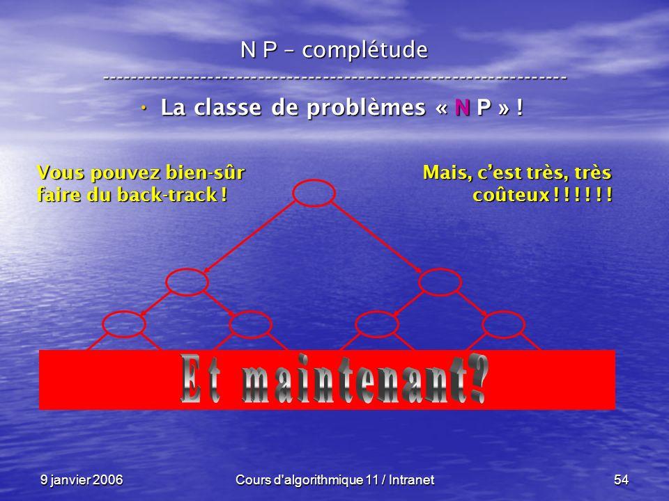 9 janvier 2006Cours d'algorithmique 11 / Intranet54 N P – complétude ----------------------------------------------------------------- La classe de pr