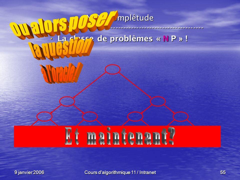 9 janvier 2006Cours d'algorithmique 11 / Intranet55 N P – complétude ----------------------------------------------------------------- La classe de pr