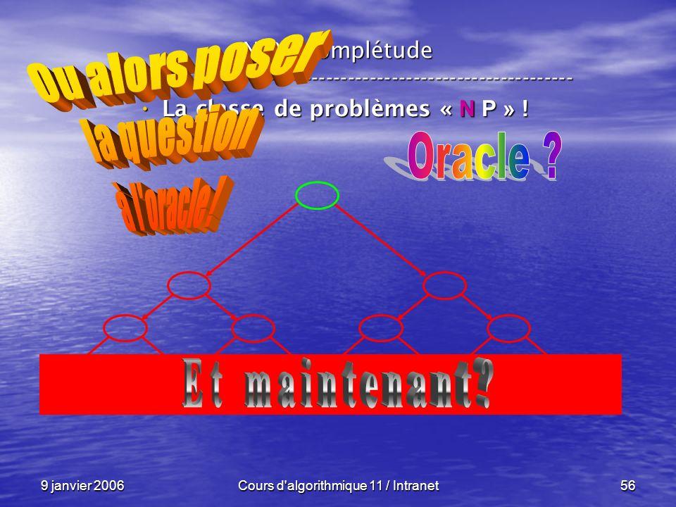 9 janvier 2006Cours d'algorithmique 11 / Intranet56 N P – complétude ----------------------------------------------------------------- La classe de pr
