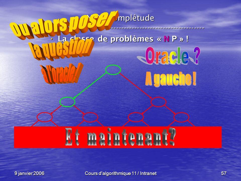 9 janvier 2006Cours d'algorithmique 11 / Intranet57 N P – complétude ----------------------------------------------------------------- La classe de pr