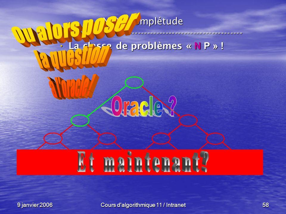 9 janvier 2006Cours d'algorithmique 11 / Intranet58 N P – complétude ----------------------------------------------------------------- La classe de pr