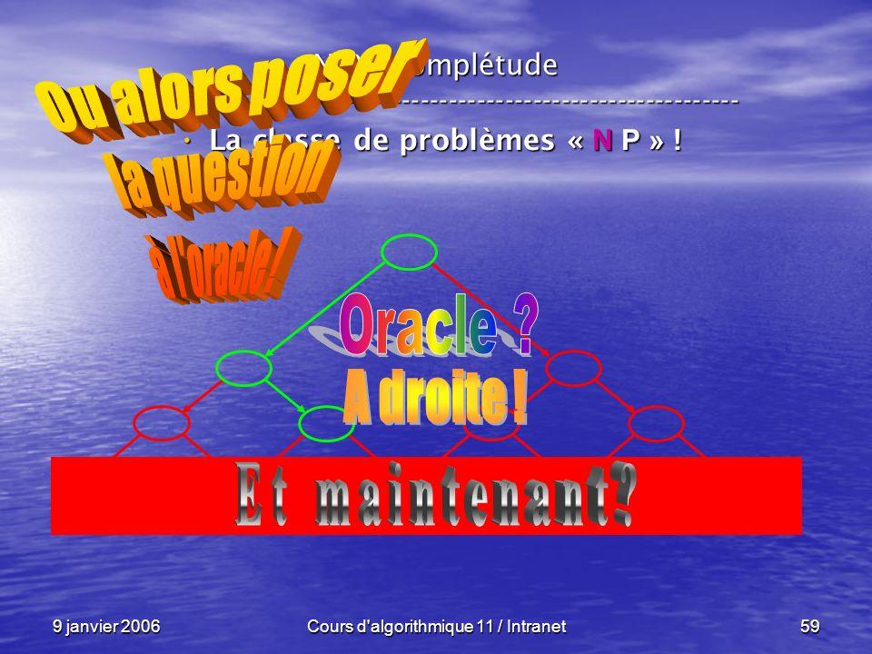 9 janvier 2006Cours d'algorithmique 11 / Intranet59 N P – complétude ----------------------------------------------------------------- La classe de pr