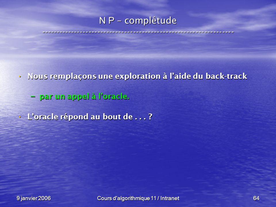 9 janvier 2006Cours d'algorithmique 11 / Intranet64 N P – complétude ----------------------------------------------------------------- Nous remplaçons