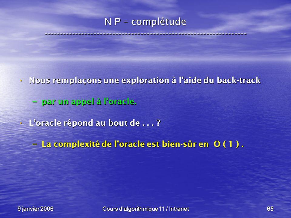 9 janvier 2006Cours d'algorithmique 11 / Intranet65 N P – complétude ----------------------------------------------------------------- Nous remplaçons