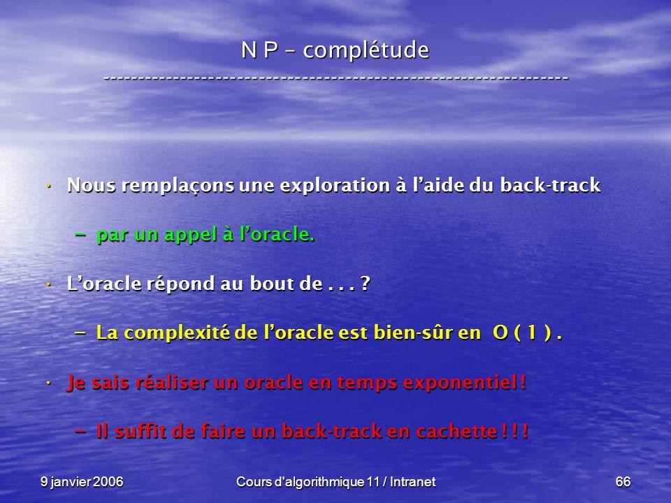 9 janvier 2006Cours d'algorithmique 11 / Intranet66 N P – complétude ----------------------------------------------------------------- Nous remplaçons