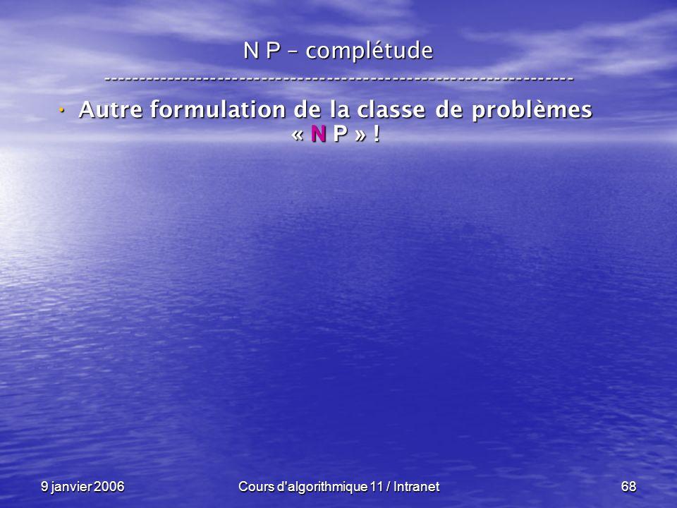9 janvier 2006Cours d'algorithmique 11 / Intranet68 N P – complétude ----------------------------------------------------------------- Autre formulati