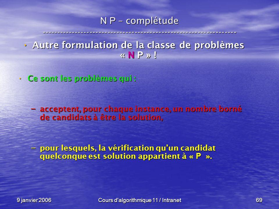 9 janvier 2006Cours d'algorithmique 11 / Intranet69 N P – complétude ----------------------------------------------------------------- Autre formulati