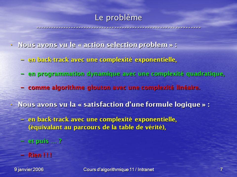 9 janvier 2006Cours d algorithmique 11 / Intranet128 N P – complétude ----------------------------------------------------------------- Conséquences : Conséquences : Sil existe un seul problème P N P C Sil existe un seul problème P N P C – pour lequel on trouve un algorithme en temps polynômial et déterministe, – alors P = N P !