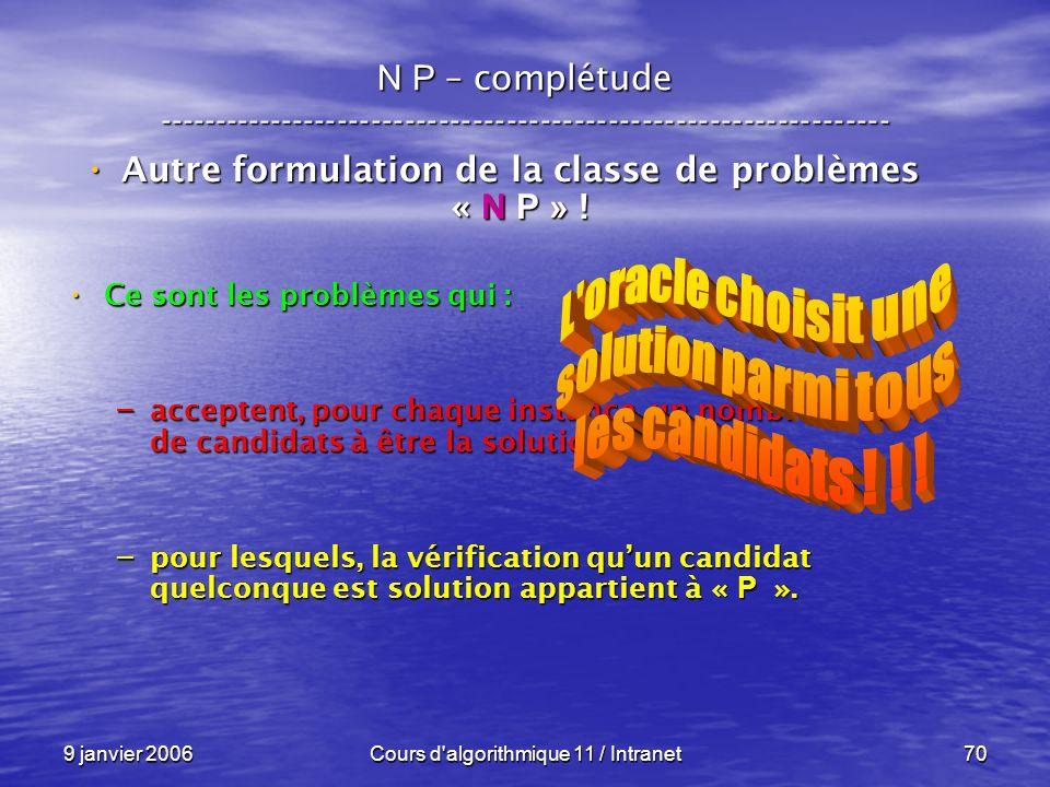 9 janvier 2006Cours d'algorithmique 11 / Intranet70 N P – complétude ----------------------------------------------------------------- Autre formulati