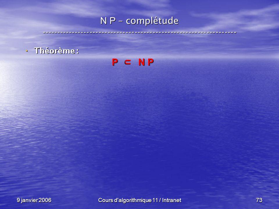 9 janvier 2006Cours d'algorithmique 11 / Intranet73 N P – complétude ----------------------------------------------------------------- Théorème : Théo