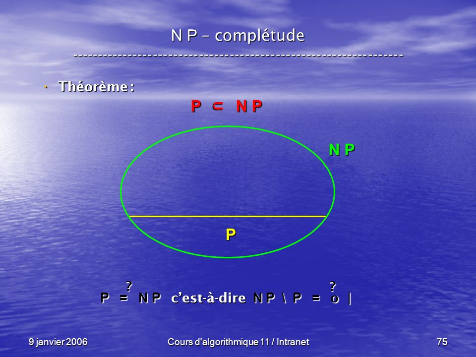 9 janvier 2006Cours d'algorithmique 11 / Intranet75 N P – complétude ----------------------------------------------------------------- Théorème : Théo