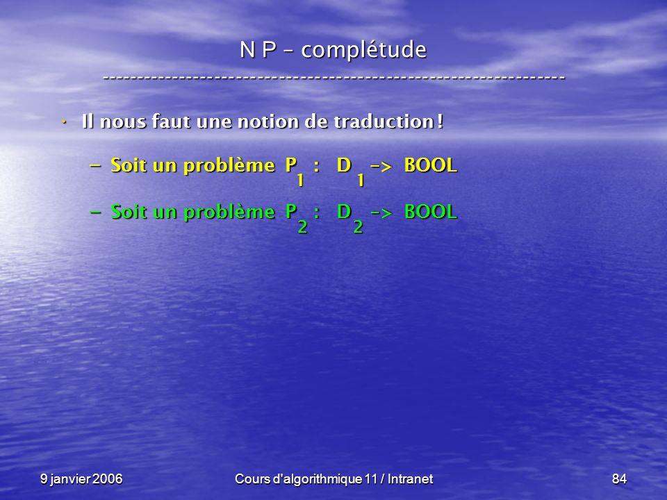 9 janvier 2006Cours d'algorithmique 11 / Intranet84 N P – complétude ----------------------------------------------------------------- Il nous faut un