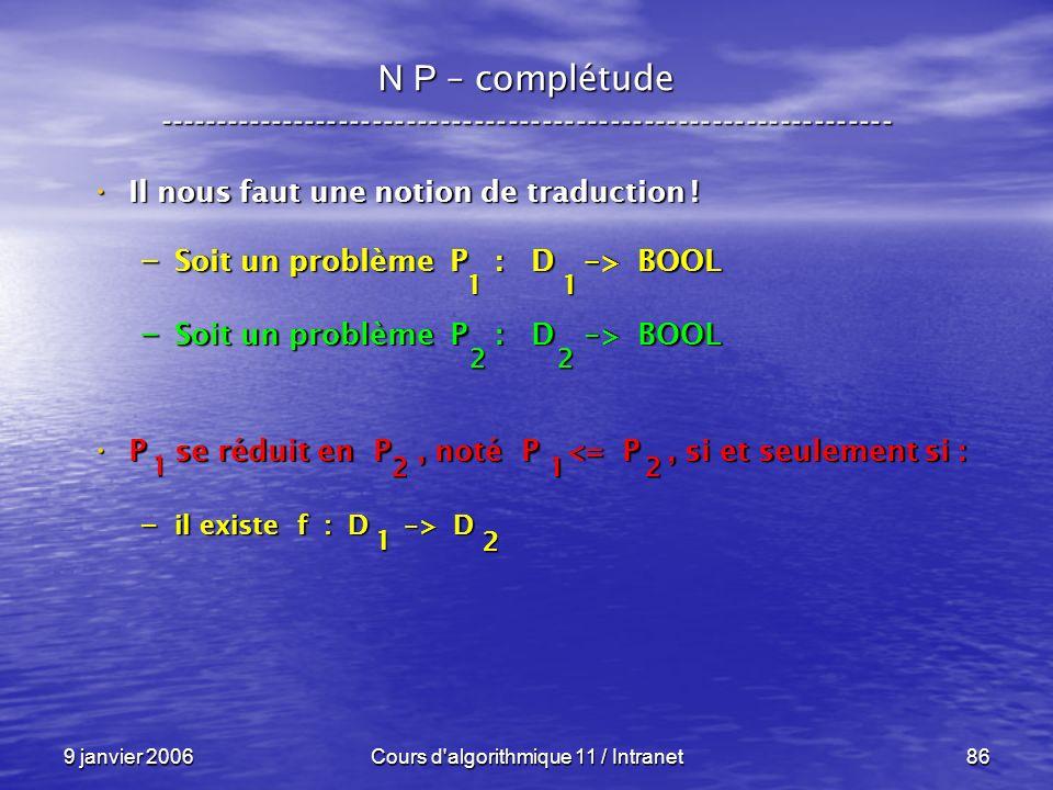 9 janvier 2006Cours d'algorithmique 11 / Intranet86 N P – complétude ----------------------------------------------------------------- Il nous faut un