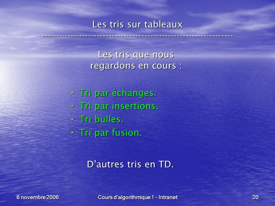 6 novembre 2006Cours d'algorithmique 1 - Intranet20 Les tris sur tableaux ----------------------------------------------------------------- Les tris q