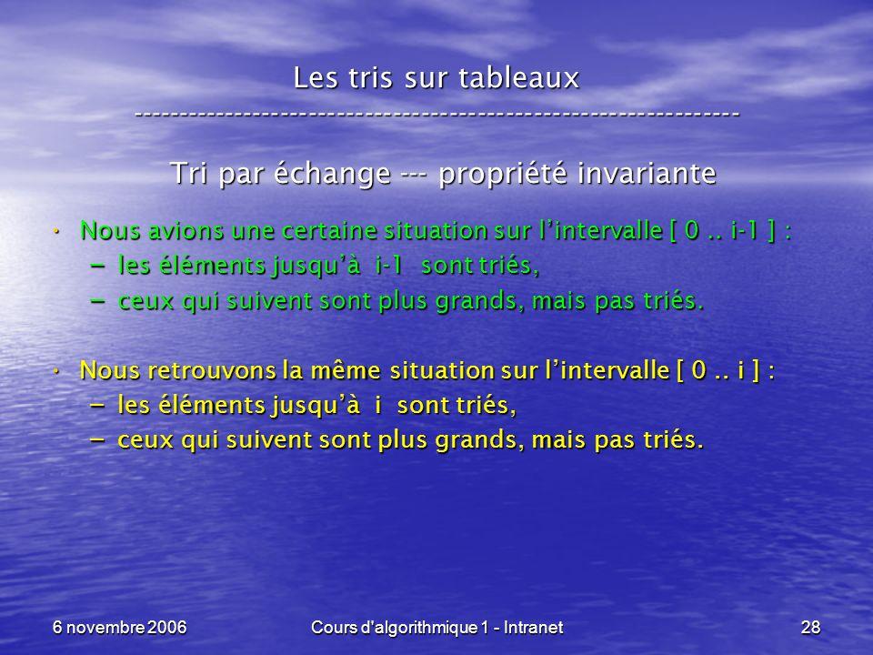 6 novembre 2006Cours d'algorithmique 1 - Intranet28 Les tris sur tableaux ----------------------------------------------------------------- Tri par éc