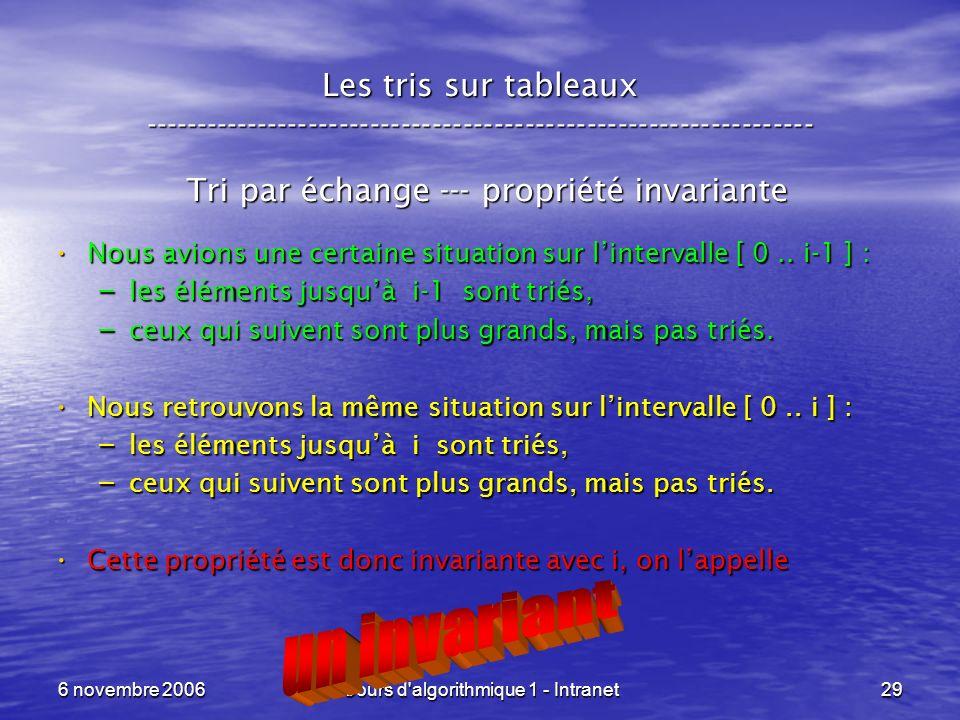 6 novembre 2006Cours d'algorithmique 1 - Intranet29 Les tris sur tableaux ----------------------------------------------------------------- Tri par éc