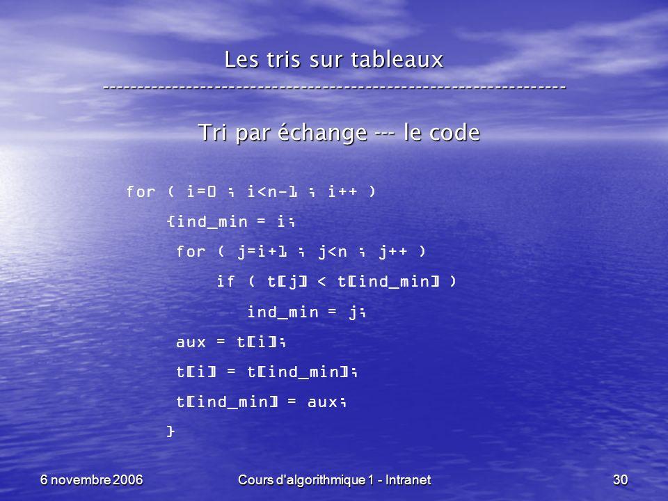 6 novembre 2006Cours d'algorithmique 1 - Intranet30 Les tris sur tableaux ----------------------------------------------------------------- Tri par éc