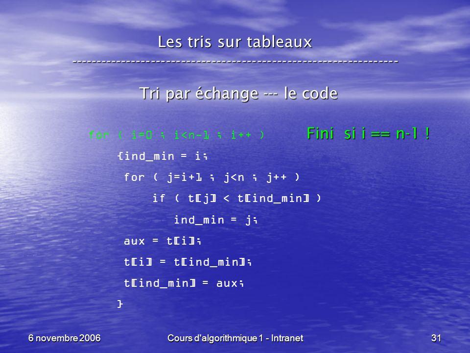 6 novembre 2006Cours d'algorithmique 1 - Intranet31 Les tris sur tableaux ----------------------------------------------------------------- Tri par éc