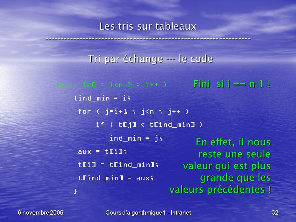 6 novembre 2006Cours d'algorithmique 1 - Intranet32 Les tris sur tableaux ----------------------------------------------------------------- Tri par éc