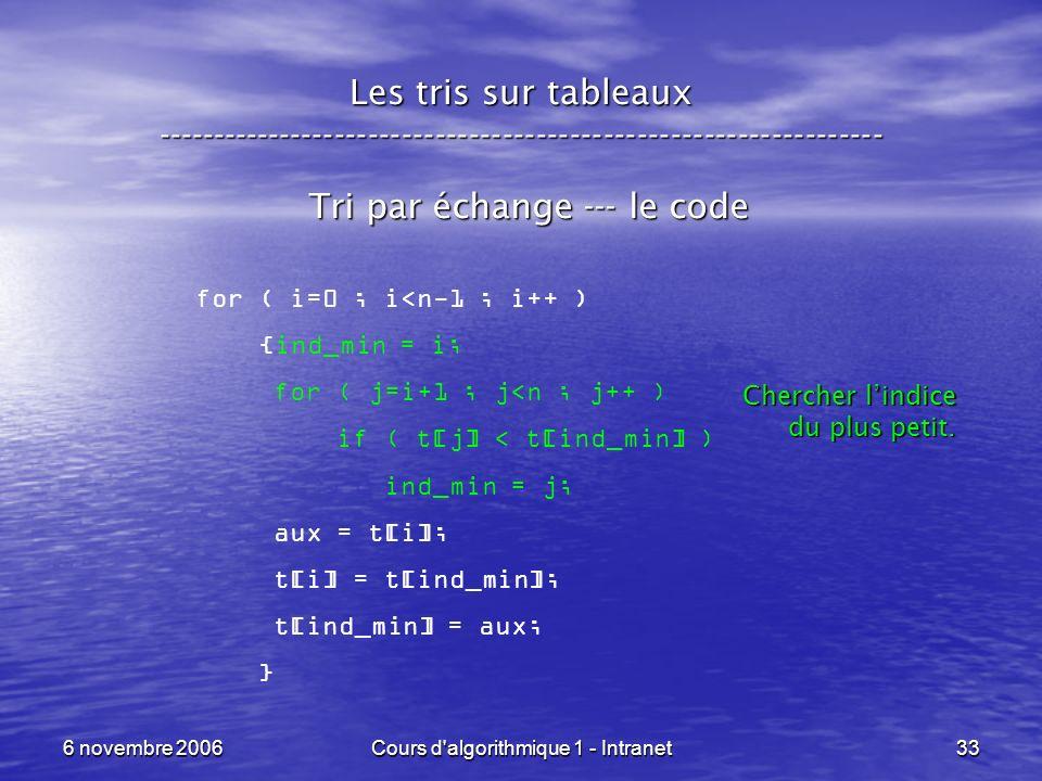 6 novembre 2006Cours d'algorithmique 1 - Intranet33 Les tris sur tableaux ----------------------------------------------------------------- Tri par éc