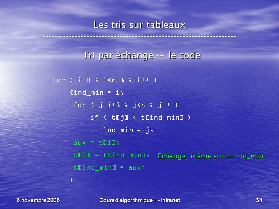 6 novembre 2006Cours d'algorithmique 1 - Intranet34 Les tris sur tableaux ----------------------------------------------------------------- Tri par éc