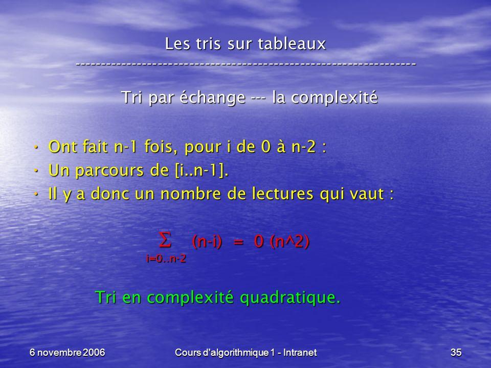 6 novembre 2006Cours d'algorithmique 1 - Intranet35 Les tris sur tableaux ----------------------------------------------------------------- Tri par éc