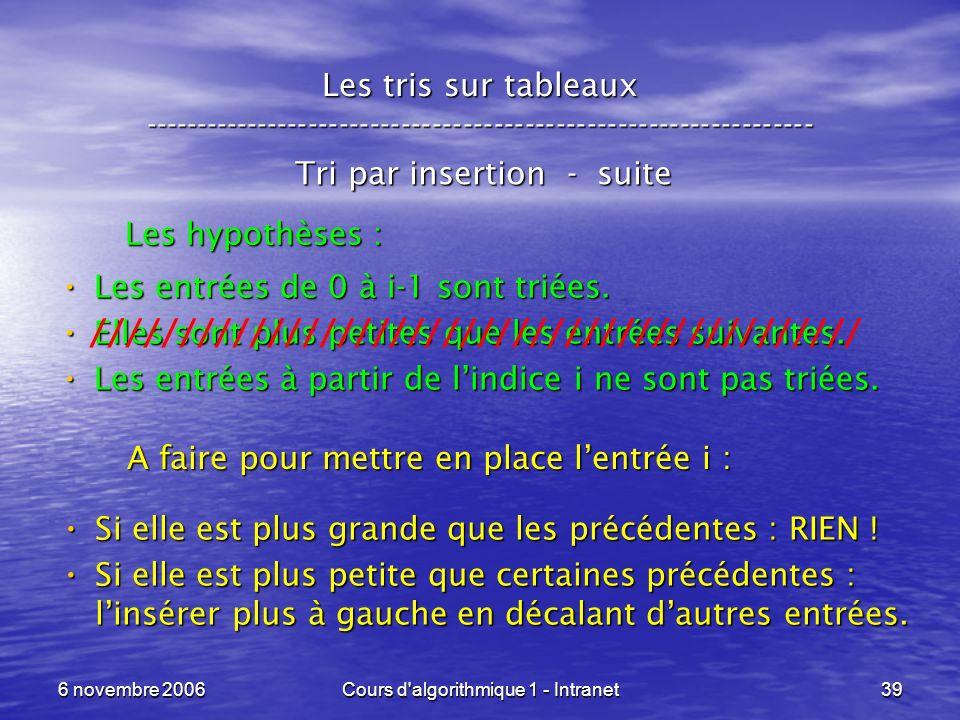 6 novembre 2006Cours d'algorithmique 1 - Intranet39 Les tris sur tableaux ----------------------------------------------------------------- Tri par in