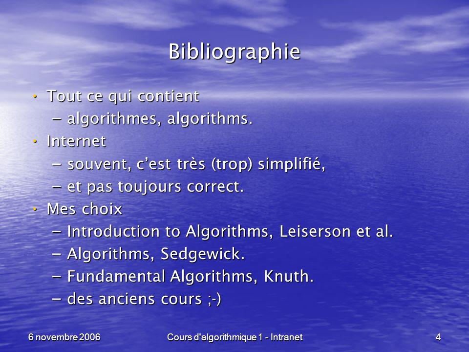 6 novembre 2006Cours d'algorithmique 1 - Intranet4 Bibliographie Tout ce qui contient Tout ce qui contient – algorithmes, algorithms. Internet Interne