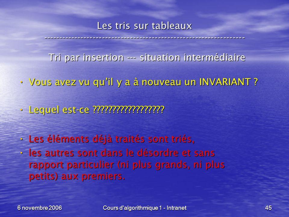 6 novembre 2006Cours d'algorithmique 1 - Intranet45 Les tris sur tableaux ----------------------------------------------------------------- Tri par in