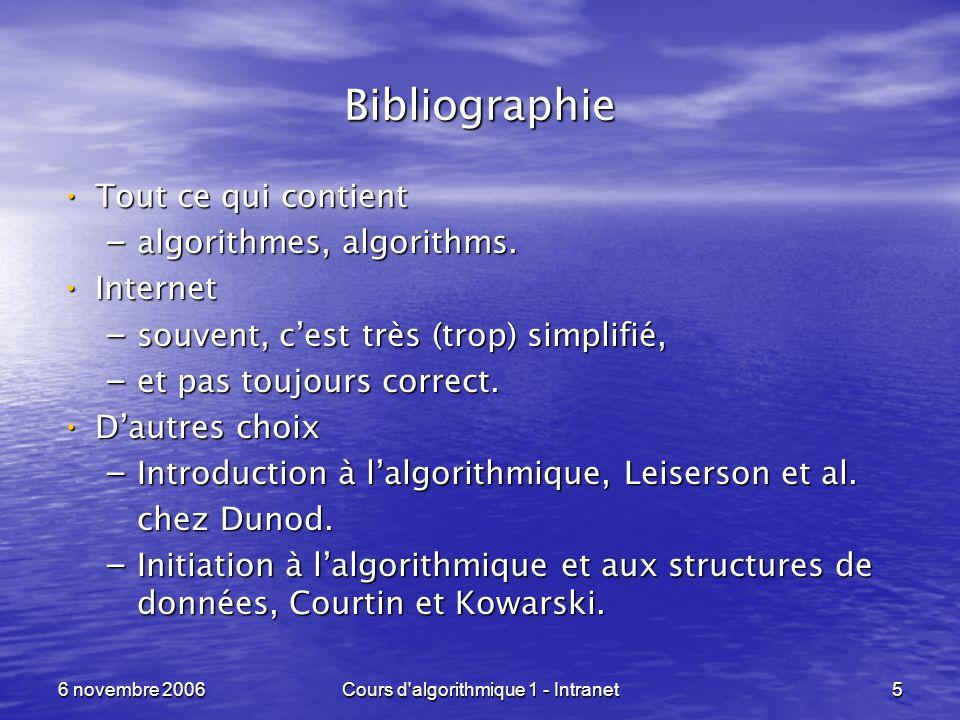 6 novembre 2006Cours d'algorithmique 1 - Intranet5 Bibliographie Tout ce qui contient Tout ce qui contient – algorithmes, algorithms. Internet Interne