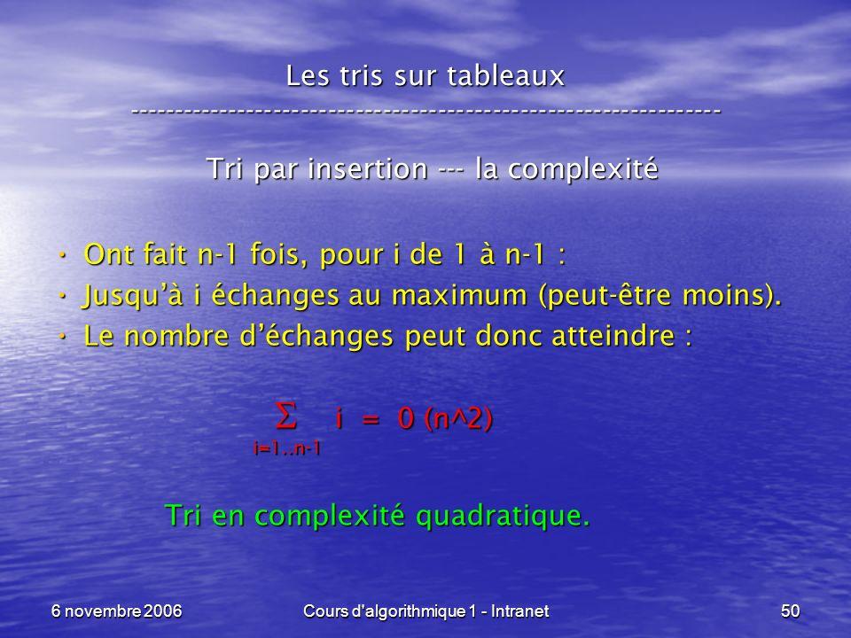 6 novembre 2006Cours d'algorithmique 1 - Intranet50 Les tris sur tableaux ----------------------------------------------------------------- Tri par in
