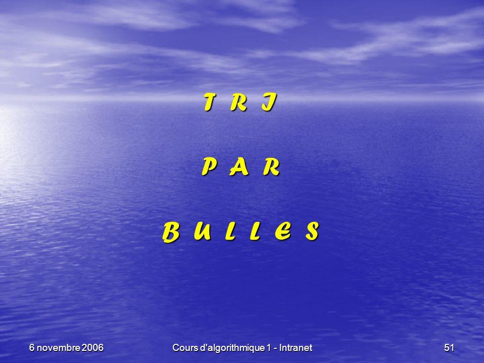 6 novembre 2006Cours d'algorithmique 1 - Intranet51 T R I P A R B U L L E S