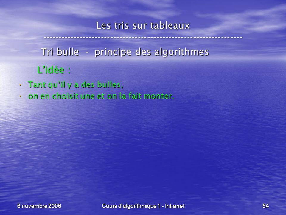 6 novembre 2006Cours d'algorithmique 1 - Intranet54 Les tris sur tableaux ----------------------------------------------------------------- Tri bulle