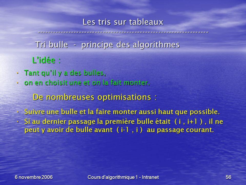 6 novembre 2006Cours d'algorithmique 1 - Intranet56 Les tris sur tableaux ----------------------------------------------------------------- Tri bulle