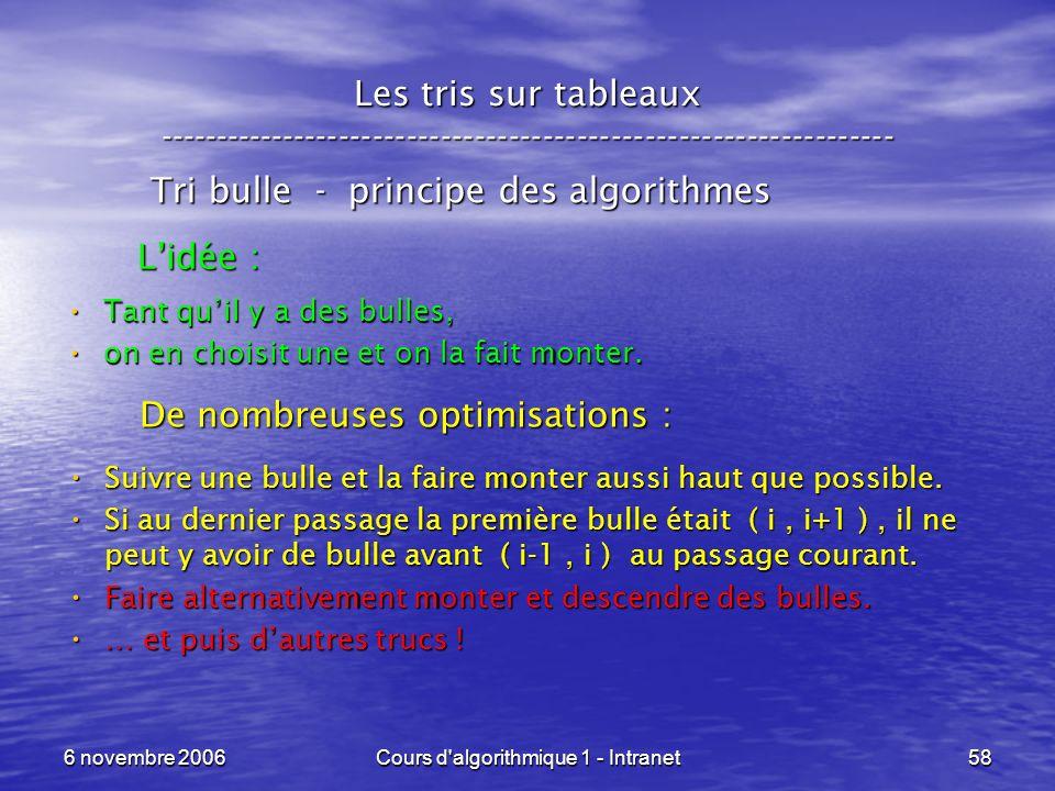 6 novembre 2006Cours d'algorithmique 1 - Intranet58 Les tris sur tableaux ----------------------------------------------------------------- Tri bulle