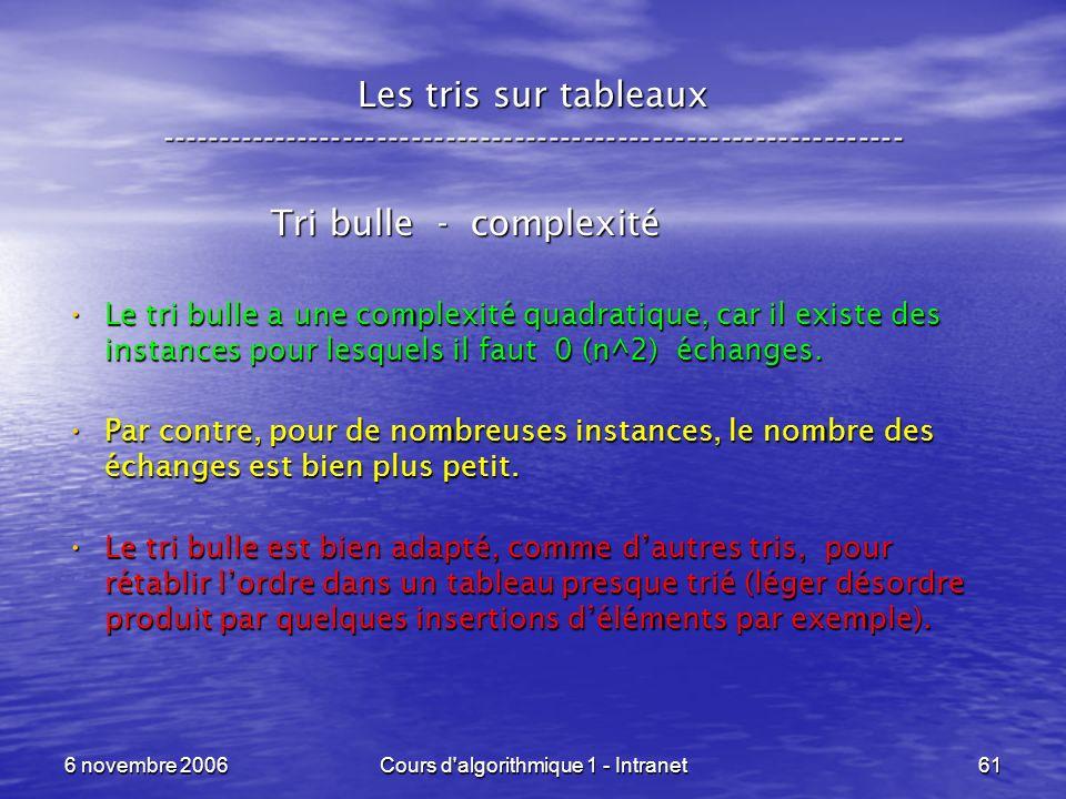 6 novembre 2006Cours d'algorithmique 1 - Intranet61 Les tris sur tableaux ----------------------------------------------------------------- Tri bulle