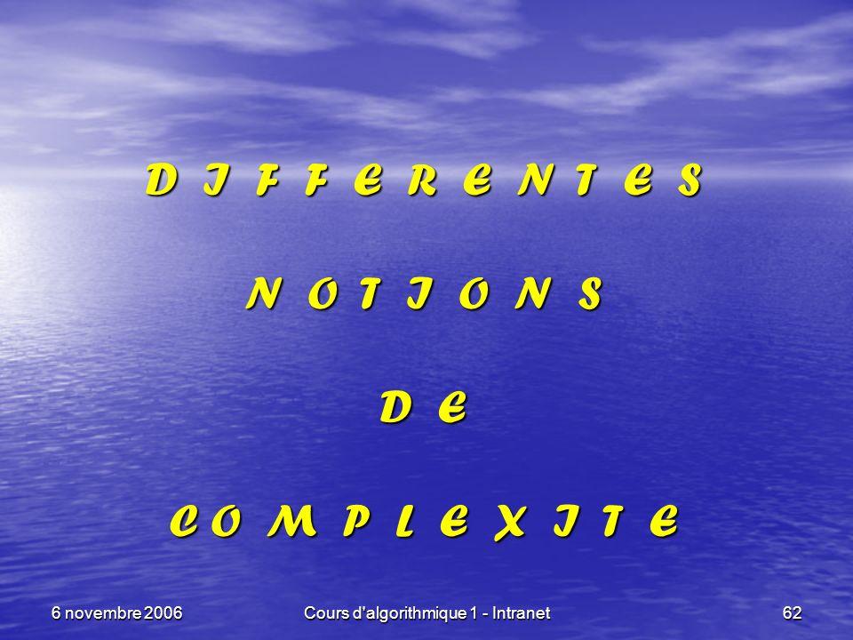 6 novembre 2006Cours d'algorithmique 1 - Intranet62 D I F F E R E N T E S N O T I O N S D E C O M P L E X I T E
