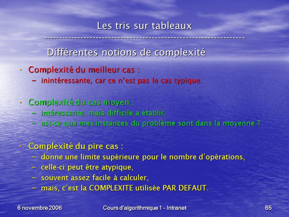 6 novembre 2006Cours d'algorithmique 1 - Intranet65 Les tris sur tableaux ----------------------------------------------------------------- Différente