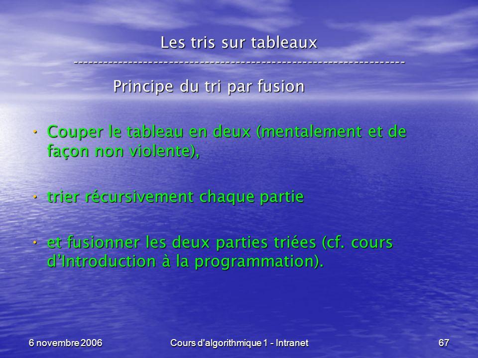 6 novembre 2006Cours d'algorithmique 1 - Intranet67 Les tris sur tableaux ----------------------------------------------------------------- Principe d