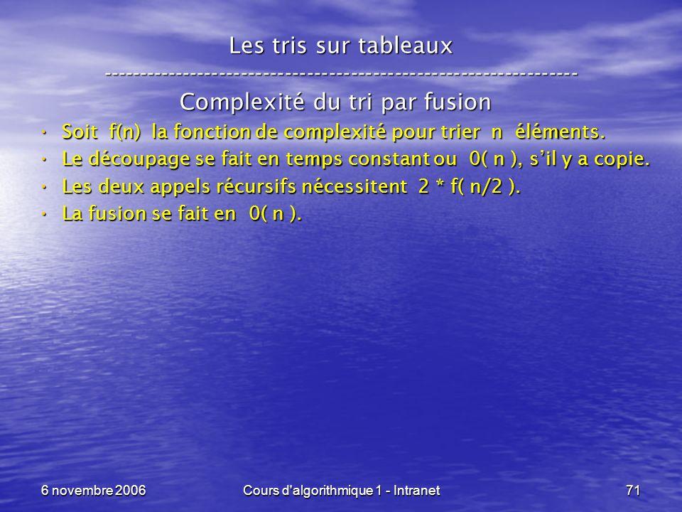 6 novembre 2006Cours d'algorithmique 1 - Intranet71 Les tris sur tableaux ----------------------------------------------------------------- Complexité