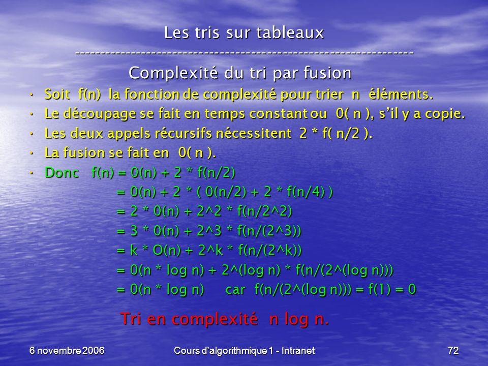 6 novembre 2006Cours d'algorithmique 1 - Intranet72 Les tris sur tableaux ----------------------------------------------------------------- Complexité
