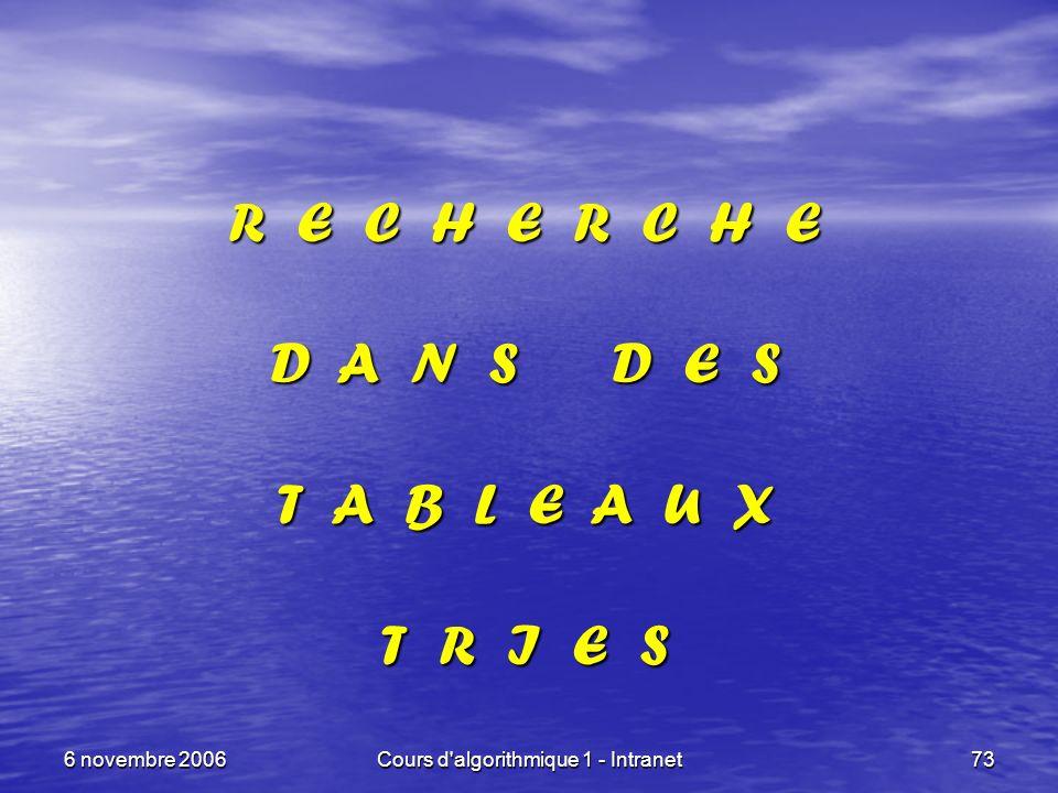 6 novembre 2006Cours d'algorithmique 1 - Intranet73 R E C H E R C H E D A N S D E S T A B L E A U X T R I E S