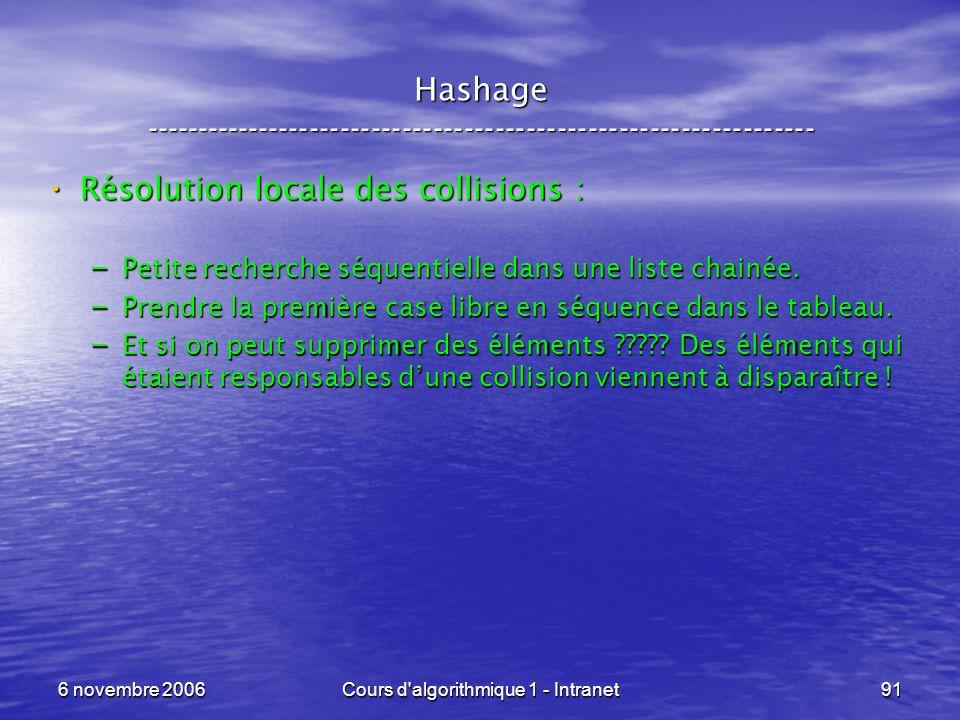 6 novembre 2006Cours d'algorithmique 1 - Intranet91 Hashage ----------------------------------------------------------------- Résolution locale des co
