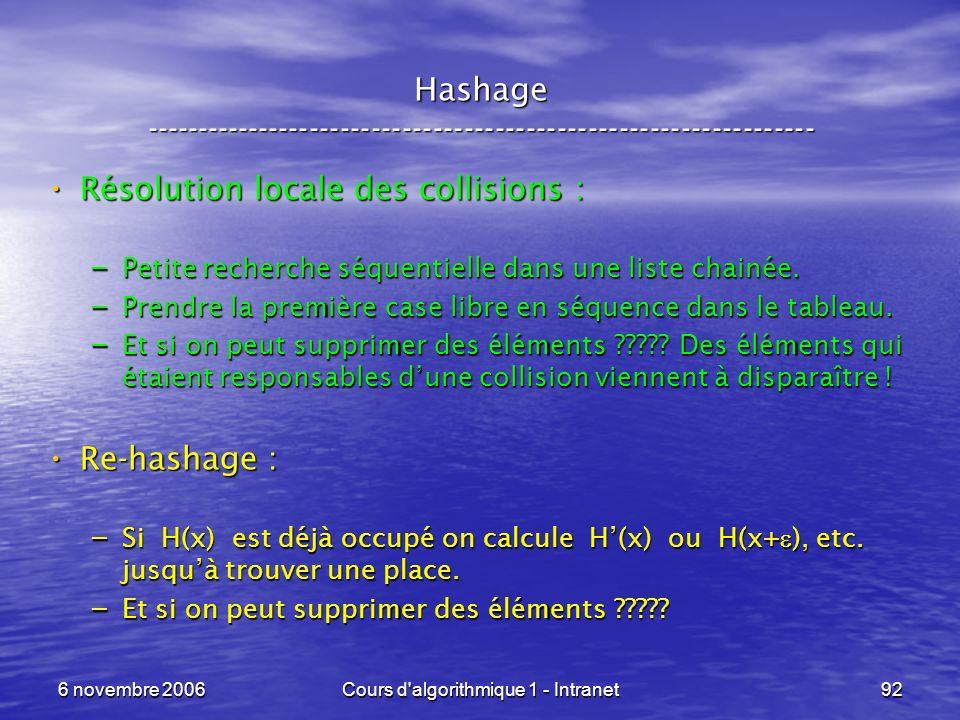 6 novembre 2006Cours d'algorithmique 1 - Intranet92 Hashage ----------------------------------------------------------------- Résolution locale des co
